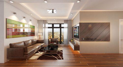 Thiết kế nội thất căn hộ VINHOMES GARDENIA chất liệu gỗ óc chó