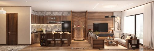 Thiết kế chung cư MANDARIN GARDEN 2 sang trọng với màu gỗ óc chó