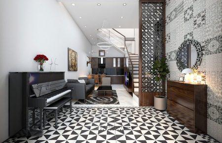 Thiết kế nội thất nhà phố 40m2 Hà Nội gỗ óc chó Bắc Mỹ 4x10m