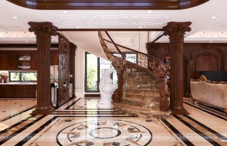 Thiết kế thi công nội thất biệt thự gỗ óc chó cao cấp, phong cách nội thất tân cổ điển