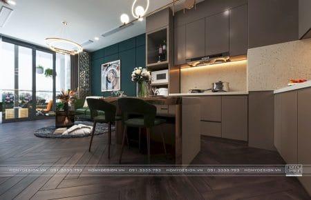 Thiết kế nội thất căn hộ VINHOMES SYMPHONY 70M2 tông màu trầm tối lạ mắt